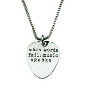Art Attack Silvertone When Words Fail Music Speaks Guitar Pick Lover Pendant Necklace