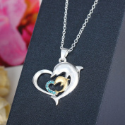 Silver Crystal Heart Dolphins Charm Pendant Necklace Chain Jewellery