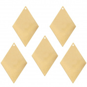15 Brass Plated Alloy Metal Stamping Blanks Diamond Drop 44x29mm