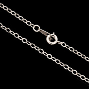 Silver Flat Oval Cable Chain Necklace With Springring Clasp 16Inch Silver Plated Brass 3mm Chain Width Sold per pkg of 1pcs