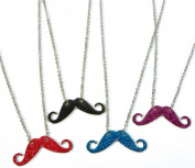 Lot 12 Assorted Hipster . Costume Moustache Shiny Sparkle Necklace