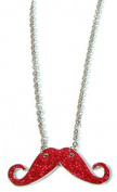 Red Silver Hipster . Costume Moustache Shiny Sparkle Necklace