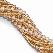 Peach, Champagne & Clear Austrian & CZ Cubic Zirconiaech Crystal with Glass Beads Bracelet 19cm