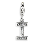Roy Rose Jewellery Sterling Silver Amore la Vita CZ Letter I w/Lobster Clasp Charm