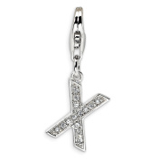 Roy Rose Jewellery Sterling Silver Amore la Vita CZ Letter X w/Lobster Clasp Charm