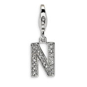 Roy Rose Jewellery Sterling Silver Amore la Vita CZ Letter N w/Lobster Clasp Charm