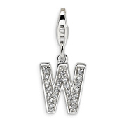 Roy Rose Jewellery Sterling Silver Amore la Vita CZ Letter W w/Lobster Clasp Charm