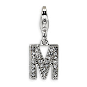 Roy Rose Jewellery Sterling Silver Amore la Vita CZ Letter M w/Lobster Clasp Charm