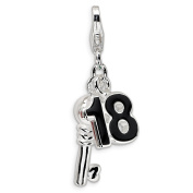 Roy Rose Jewellery Sterling Silver Amore la Vita 3-D Enamelled 18 and Key w/Lobster Clasp Charm