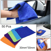 Green, Yellow, Blue, White, An 50 Pcs Washable Reusable Microfiber Cleaning Cloth Car No-Scratching Towel Rag Towels;Bath Towels