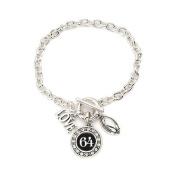 Number 64 Love Football Bracelet