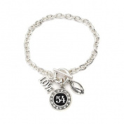 Number 54 Love Football Bracelet