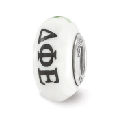 Fenton Hand Painted Delta Phi Epsilon Glass & Sterling Silver Charm