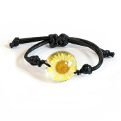 ED Speldy East FBL403 Real Daisy Bracelet, Yellow