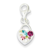 Sterling Silver Multi-Stellux Crystal Heart Lobster Charm QP2533