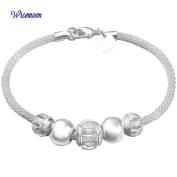 Wicemoon Flower Beads Bracelet Silver Chain Charm Bracelet Women Party Jewellery 1PCS