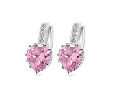 KOTiger Fashion Lady Women's White Copper Plated Pink Crystal Heart Leverback Stud Earrings