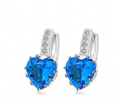 KOTiger Fashion Lady Women's Copper Plated Crystal Heart Leverback Stud Earring