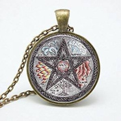 Personality pentagram glass Pendant Necklace charm Wiccan necklaces charms Occult pendants Jewellery