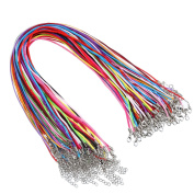 30 Pieces Satin Silk Necklace Cord and 30 Pieces Leather Cord with Extension Chain and Lobster Clasp, 46cm , 10 Colours