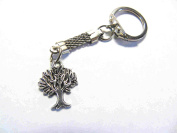 small silver tree of life keyring, key chain, with silver chain and clip