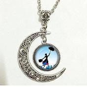 Crescent Moon Mary Poppins Art Pendant,Mary Poppins Necklace,Mary Poppins Jewellery,Birthday Gift