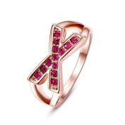 Thumby Tin Alloy Rose Gold Plated 4.2g Trendy Czech Diamond Ring for Women,Red,8
