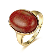 Thumby Tin Alloy Antique Gold Plated 6g Trendy Gemstone Ring for Women,red,8