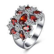 Thumby Copper Platinum Plated 6.3g Romantic Snowflake Ring for Women,Red,9