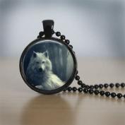 Glass Tile Necklace Wolf Necklace Black Jewellery Black Necklace Glass Tile, Glass Dome Art Pendant, Glass Bezel Art Photo