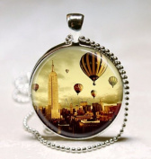New York Necklace NYC Empire State Building Hot Air Balloon Travel Art, Glass Art Jewellery Picture Pendant Photo Pendant Handcrafted Necklace