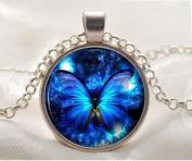 Blue Butterfly Necklace - Butterfly Pendant for Women, Glass Dome Art Pendant, Glass Bezel Art Photo