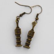 BIG BEN Charm Dangle Earrings Antique Cute Great Bell Bronze Jewellery 3d Charm Vintage Retro Hipster Rock Gift London England Tower