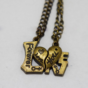I Love You Forever Hearts Necklaces - His Hers Couples Necklace - Best Friend Necklace - Boyfriend Girlfriend