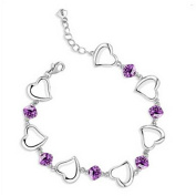 Cosanter At First Sight Amethyst Heart Shaped Silver Bracelet Jewellery