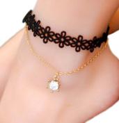 Scrox Fashion Anklet Chain Black Lace Tassel Women jewellery Foot Chain Women Ankle Bracelet Size Adjustable for Women Girls Elegant Charming Costume Jewellery Accessories
