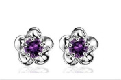 Cosanter Silver Ear Studs Plum Earrings Plated With Platinum Earrings