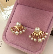 Haahaha Lovely Women Crystal Pearl Ear Stud After hanging Earring