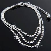 Crystal 3 Rows Rhinestone Ankle Chain Bracelet Anklet Bridal Foot Jewellery