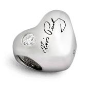 Sterling Silver Elvis Presley Heart Bead Charm