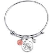 Disney Mickey Mouse Women's Stainless Steel All We Have Is Love with Cherry Quartz Bead Bangle