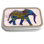 Glass Art Elephant Design Slim Hinged 30ml Tin Tobacco Storage