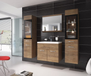 Bathroom cabinet RIO XL 60cm basin Lefkas (brown) - 2x Storage cabinet vanity unit sink furniture