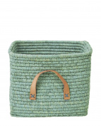 Small Square Basket with Leather Handles in Raffia, Mint, 30 x 30 x 25 cm by Rice