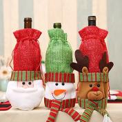 Happium - Santa Reindeer Tree Wine Bottle Cover for Christmas - 3pcs