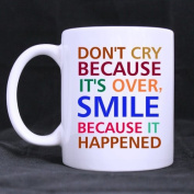 LAH Don't Cry Because its Over Smile Because it Happened Coffee Mug or Tea Cup,Ceramic White Mugs 330ml,Nice Motivational And Inspirational Gift
