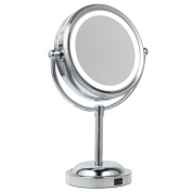 Jopee 3X/1X Magnifying Round Lighted Makeup Mirror Double Dual Sided LED Illuminated 360 ° Rotating Cosmetic Vanity Mirror with Battery & USB Cable for Bathroom,Bedroom,Desktop,Tabletop