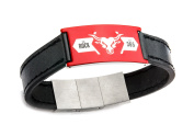 WWE The Rock Stainless Steel Logo Black Leather Bracelet