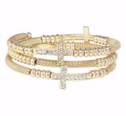 Bracelet-Crosses-Goldtone Coil Wrap
