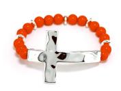 Bracelet-Round Bead Hammer Cross-Silver/Coral